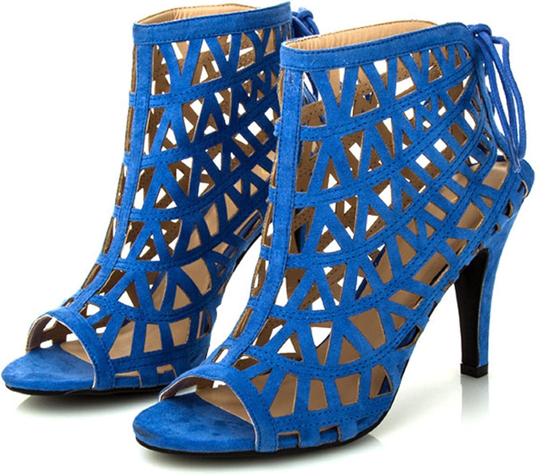 Ladiamonddiva Sandals Pumps Fashion high Heels bluee Gladiator Sandals Women Fretwork Summer shoes Woman