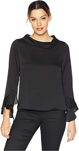 Long Sleeve Flutter Cuff Mock Neck Blouse
