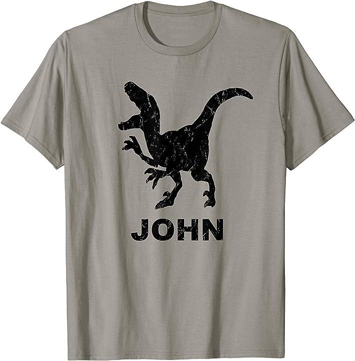 John Name T Rex T-shirt Distressed Black Dinosaur