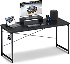 """Computer Desk 55"""" with Movable Monitor Shelf Riser, OTK Sturdy Home Office Desk, Writing Desk, Gaming Desk with Headphone ..."""