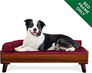 Furhaven Pet Dog Bed Frame | Mid-Century Modern Style Bed Frame Furniture for Pet Beds & Mattresses, Walnut, Large