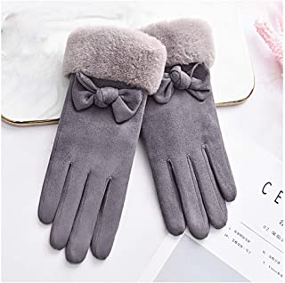XAZTY Gloves Ladies Winter Touch Screen Plus Velvet Warm Suede Cute Student Bike Driving Thickening Cold Gloves Women