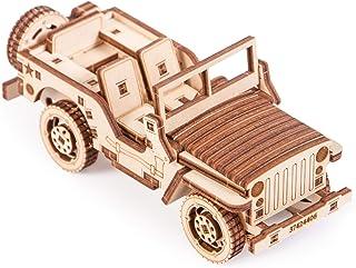 کیت Wood Wood Trick 3D مکانیکی مدل جیپ اتومبیل پازل چوبی ، مونتاژ سازنده چرخ دنده های فکری تنظیم DIY