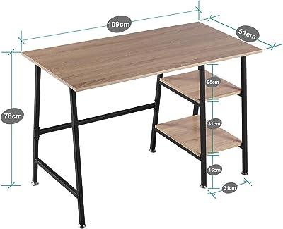 VECELO Table de Bureau avec 2 Etagères, Table Informatique en Bois chêne, Armature Métallique Table d'Etude pour Bureau Chambre Salon.