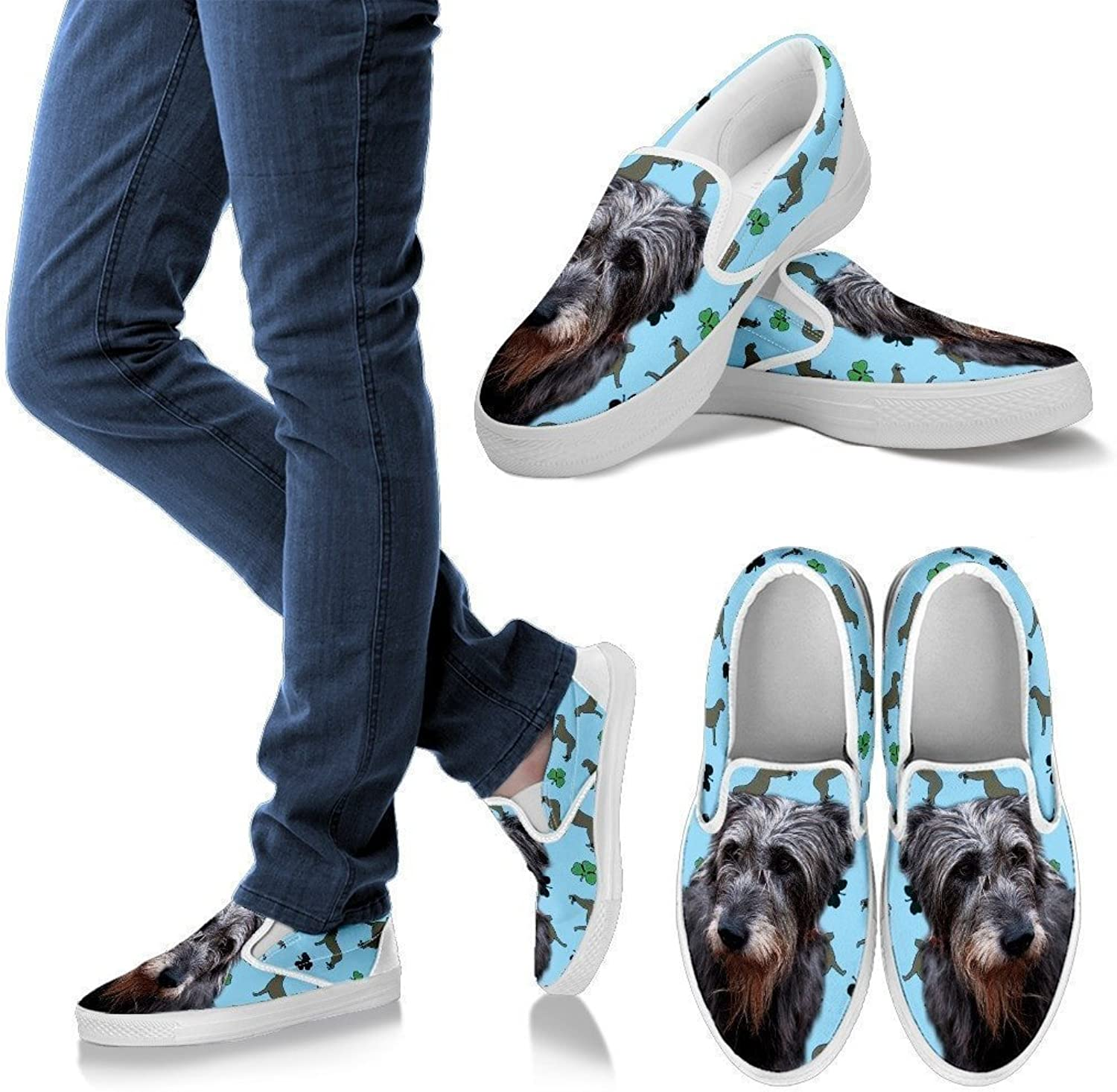 Pet By You PetByYou Irish Wolfhound 3D Printed Slip Ons, Light Weight Slip-Ons for Women, Canvas Priny Walking shoes, Womens Slip Ons - US Sizes 6-12.