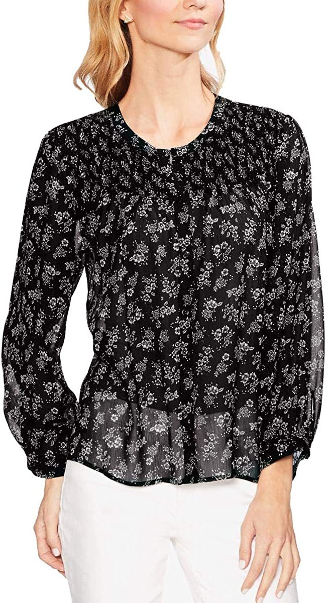Vince Camuto Womens Smocked Yoke Button Down Blouse, Black, X-Small