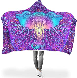 B1KDG-9 Bat Blanket Elephant Patterned Printed Lightweight Ultra Soft Blankets Hoodie - Elephant Two Sizes Suitable for Lunch Break Use White 60x80 inch