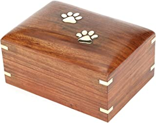 Hind Handicrafts Rosewood Pet Urn Peaceful Pet Memorial Keepsake Urn, Photo Box Cremation Urn for Dogs,Cats, Keepsake Urns for Ashes, Wooden Box Urn (Large : 9