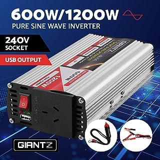 GIANTZ 600W/1200W Pure Sine Wave Power Inverter 12V-240V Camping Boat Caravan