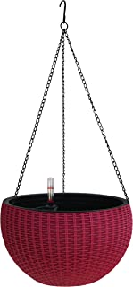 TABOR TOOLS Self-Watering Hanging Planter for Indoor-Outdoor. Wicker-Design, 10 Inch Diameter Plastic Weave Basket with Water Level Indicator Gauge. TB703A. (Red - Burgundy)