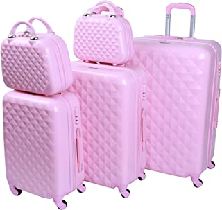 Murano Luggage Trolley Set for Unisex, 5 Pcs, Pink