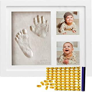 Co Little Baby Handprint & Footprint Kit (Date & Name Stamp) Clay Hand Print Picture Frame for Newborn - Best New Mom Gift...