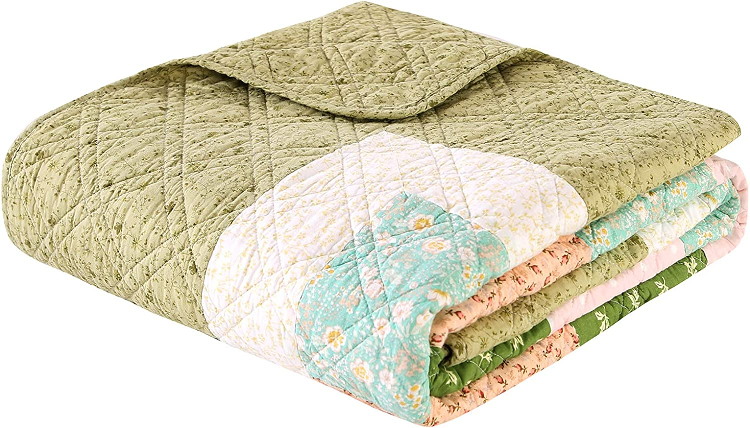 60x80 Green, Twin KINBEDY Patchwork Quilt 100/% Cotton Reversible Floral Print Quilted Blankets Coverlets Bed Throws for Couch Sofa Twin Bed