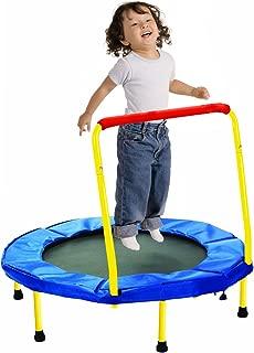 MakBB 36 Kids Trampoline w/Handle, Foldable Indoor Safety Padded Trampoline for Kids