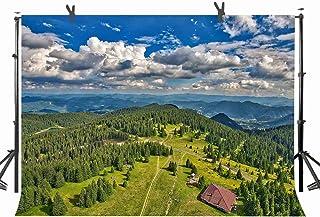 ST 10 x 7フィート 緑の美しい森と赤の城 写真撮影用背景幕 パーソナルパーティー 写真ブーススクリーン背景幕 若々しい背景用小道具 ST170116