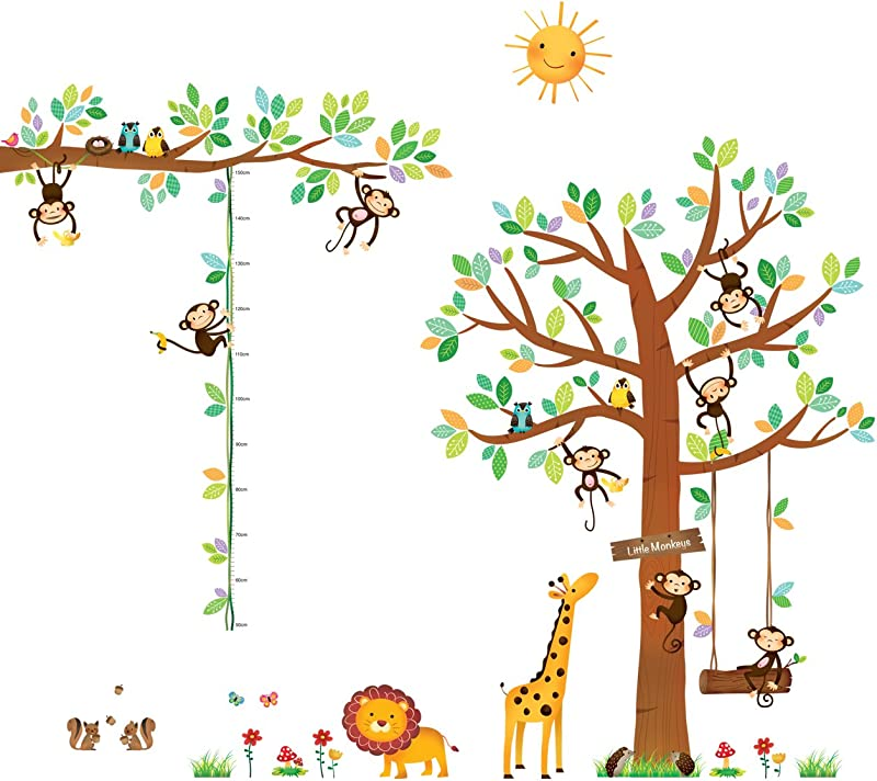 DECOWALL DA 1401P1402 8 Little Monkeys Tree And Height Chart Kids Wall Decals Wall Stickers Peel And Stick Removable Wall Stickers For Kids Nursery Bedroom Living Room