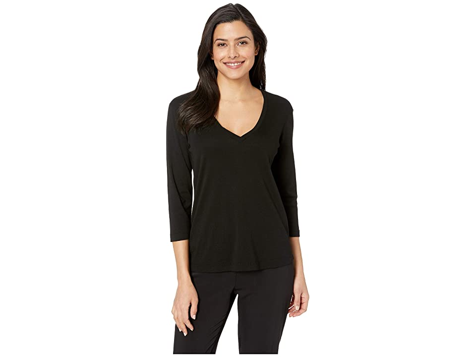 3eb6171f6 Three Dots EZ Fit 3/4 Sleeve Cotton Modal V-Neck Tee (Black