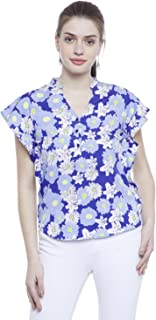 AASK Women's Royal Blue and Multicolor Floral Printed Crepe Top (AK_4067)
