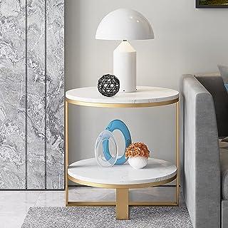 CJDM Table Basse en marbre de ménage, Table d'appoint de Salon Simple, Table à thé d'appartement d'art géométrique Circula...