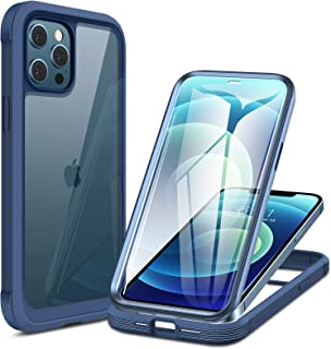 Miracase Glass+ Case for iPhone 12/ iPhone 12 Pro 6.1 inch, 2020 Full-Body Clear Bumper Case with Built-in 9H Tempered Gla...