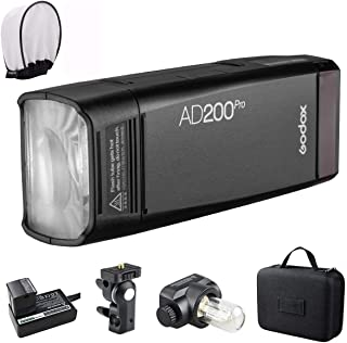 GODOX AD200Pro Godox AD200 PRO Version, 200Ws 2.4G Flash Strobe, 1/8000 HSS, 500 Full Power Flashes, 0.01-1.8s Recycling, 2900mAh Battery, Bare Bulb/Speedlite Fresnel Flash Head, Lightweight Compact