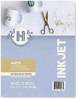 Hayes Paper, Waterslide Decal Paper Inkjet WHITE 20 Sheets Premium Water-Slide Transfer WHITE Printable Water Slide Decals...