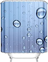 AMDXD Curtains for Shower Bathroom Water Droplets Bathroom Curtains 3D Blue Polyester Bath Curtain Size 120x180CM