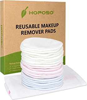 HOPOSO Reusable Cotton Rounds 20 Pack Zero Waste Organic Bamboo Makeup Remover Pads Eco-friendly Washable Face Cleansing Wipes with Laundry Bag