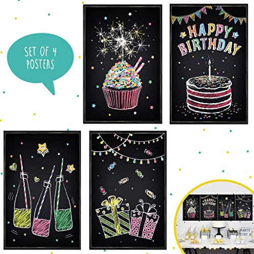 Set Of Four 11X17 Happy Birthday Wall Decor Perfect For Party Decorations Ideas You