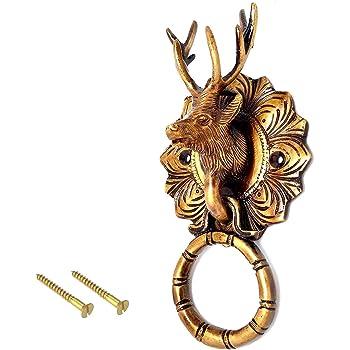 ESPLANADE Metal Brass Reindeer Face Door Knocker (6.5 Inch, Golden)
