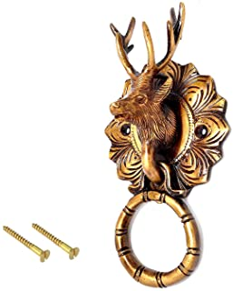 """eSplanade - 6.5"""" Reindeer Face Brass Door Knocker Design Made with Premium 100% Brass   Home Decor   Door Decor   Metal Br..."""