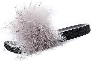 Valpeak Fur Slippers Slides For Women Open Toe Fuzzy Fur Slippers Girls Fluffy House Slides Outdoor Indoor