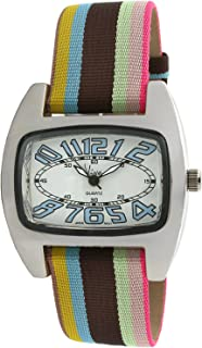 Viva Silver-Tone Blue Number Dial Multi-Color Grosgrain Strap Watch #V2390BL