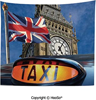HooSo Durable Washable and Reusable Tapestry Wall Hanging Carpet 59x40in,Union Jack Flagon Pole and Big Ben Taxi Cab Urban Modern Country Symbols Image,Multicolor Comfy and No Strange Odor Home Decor