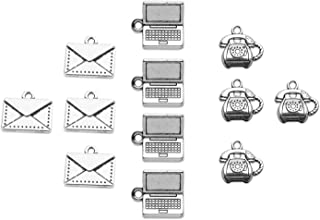 BOSATE 12pcs Secretary Charms Collection Administrative Assistant Charms Pendant Laptop/Letter/Telephone Charms for Jewelr...