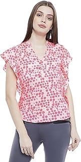 AASK Women's Polka dot Regular fit Top (AK_4068_Pink X-Large)