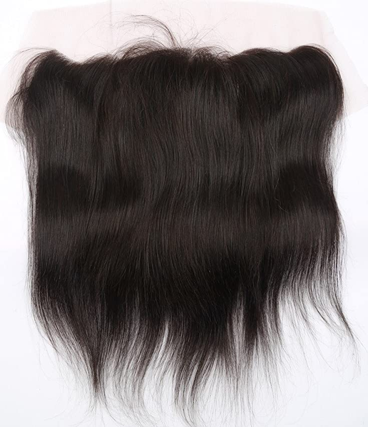 Lace Frontal Straight Closure 13x4 Free Part with Baby Hair Bleached Knots Unprocessed Brazilian Virgin Human Hair Extensions Top Frontal Lace Closure Natural Color 8 Inch