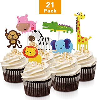 FishMM 21pcs Cute Zoo Animal Cupcake Toppers Picks,Jungle Animals Cake Toppers for Kids Baby Shower Birthday Party Cake Decoration Supplies