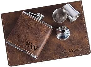 custom leather hip flask