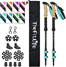 TheFitLife Carbon Fiber Trekking Poles – Collapsible and Telescopic Walking Sticks with Natural Cork Handle and Extended E...