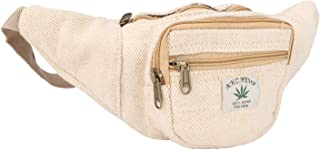 Hemp Fanny Pack,Adjustable Waist and Multiple Pockets,Waist Bag & for all purpose-White