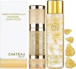 Absolute Gold 24K GOLD PETAL FACIAL TONER - 24K SHIMMER GLOW FLUID ( pack 2). 24 KARAT GOLD / COLLAGEN / HYALURONIC ACID. For all skin types.