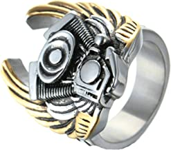 MoAndy Fashion Ring Men Stainless Steel Vintage Retro Gold Wing Engine Ring 3CM
