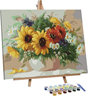 VIGEIYA Paint by Numbers for Adults Beginners with Framed Canvas and Easel Including Acrylic Paints Paintbrushes 16x20in (...