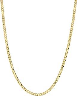 ARGENTO REALE Collar de cadena cubana de oro de 14 quilates de 2,25 mm, cadena de oro de 14 quilates, collares delicados d...