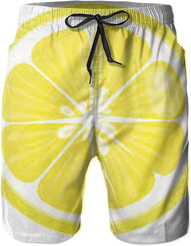 Yt92Pl@00 Men's 100% Polyester Lemon Max 40% OFF 3D Bathi Printed Oklahoma City Mall Beachwear