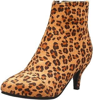 TAOFFEN Women Vintage Kitten Heels Boots Zipper Ankle Boots