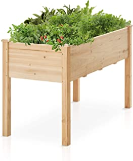 Raised Garden Bed Kit Kealive Wooden Elevated Planter Garden Box for Vegetables Herbs and Flowers, Outdoor Gardening with Drain Hole, Natural, 49L x 23.2W x 30.1H