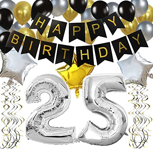 KUNGYO Classy 25TH Birthday Party Decorations Kit Black Happy Brithday BannerSilver 25 Mylar