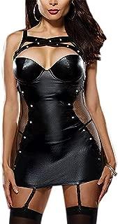 Henraly Women's Plus-Size Sexy Lingerie Faux Leather Garter Slip XL BlackX-Large